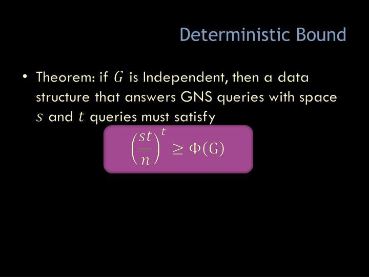 Deterministic Bound