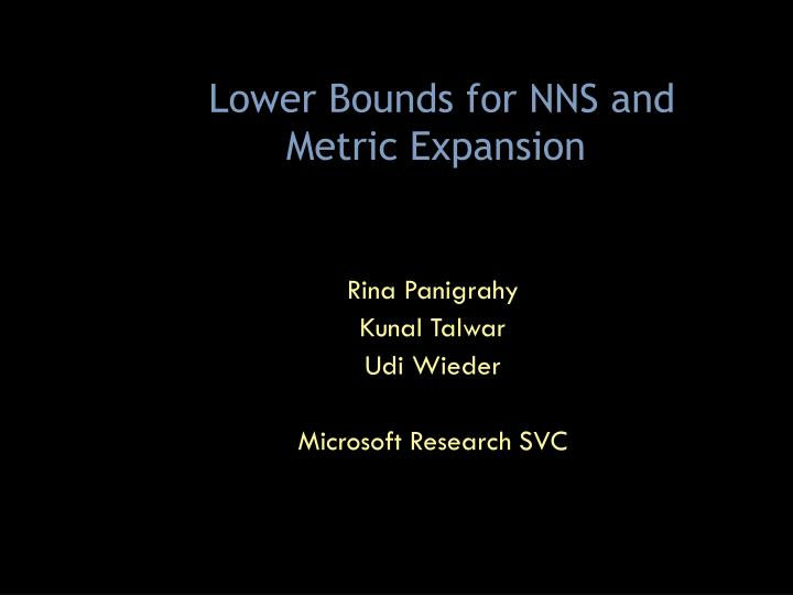 Lower bounds for nns and metric expansion