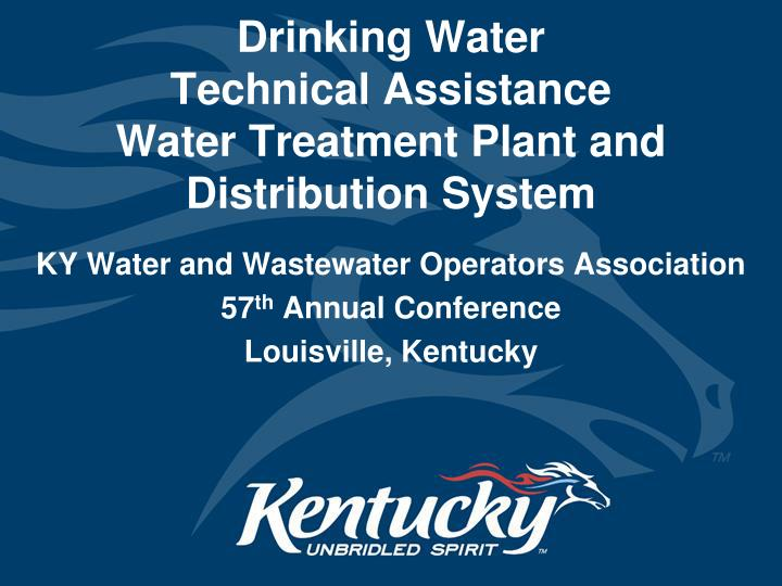 drinking water technical assistance water treatment plant and distribution system n.
