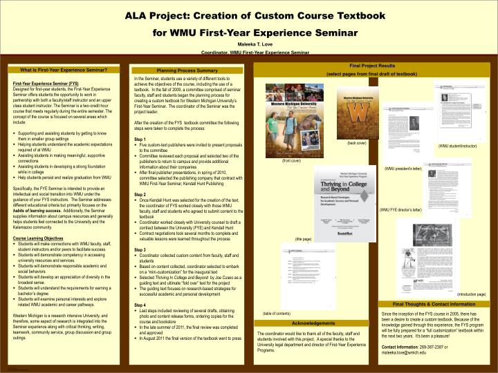 ALA Project: Creation of Custom Course Textbook