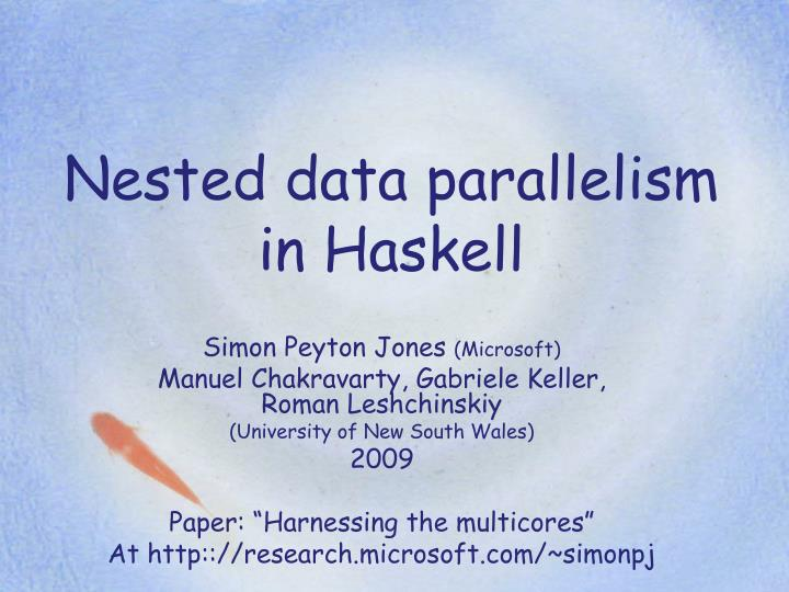 nested data parallelism in haskell n.
