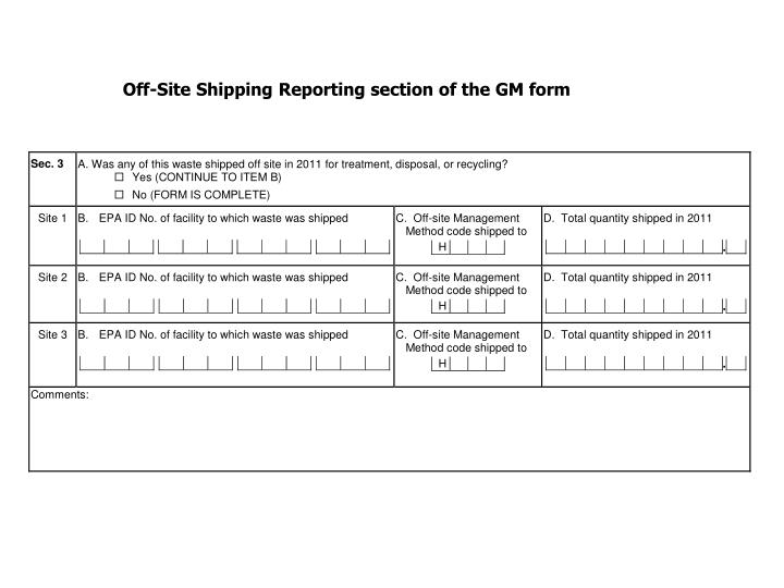 Off-Site Shipping Reporting section of the GM form
