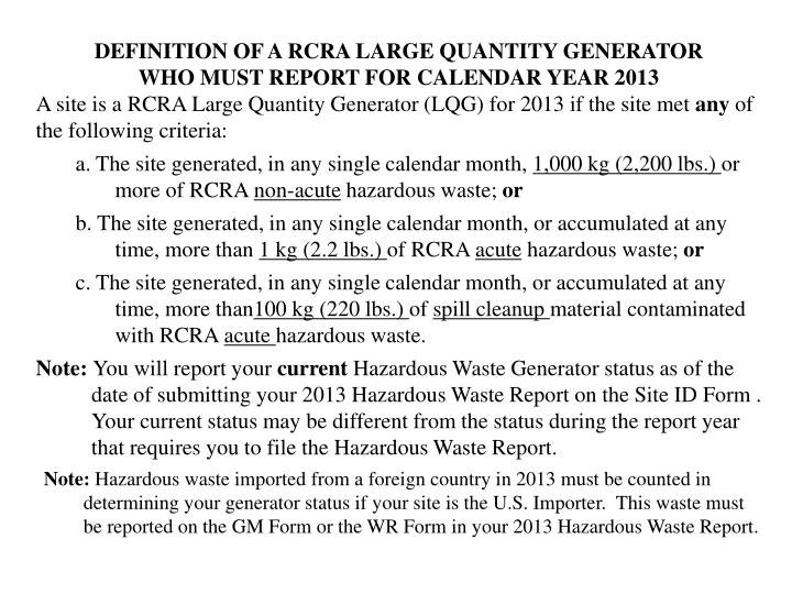DEFINITION OF A RCRA LARGE QUANTITY GENERATOR