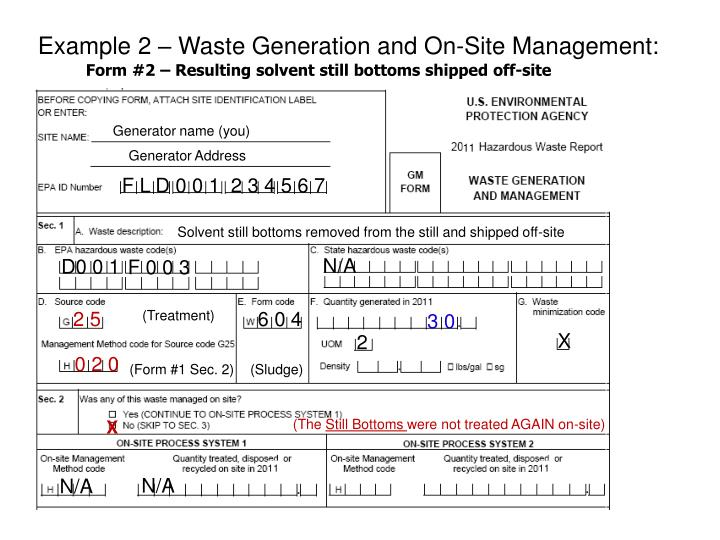 Example 2 – Waste Generation and On-Site Management: