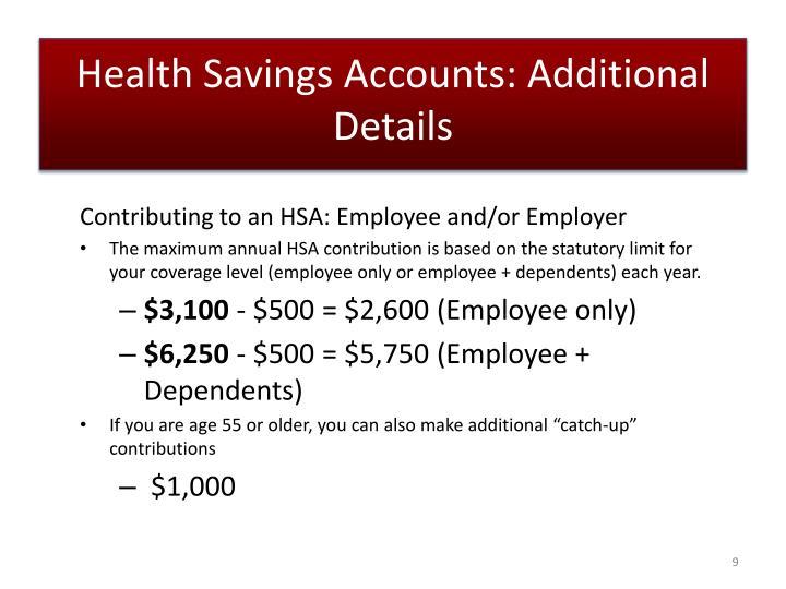 Health Savings Accounts: Additional Details