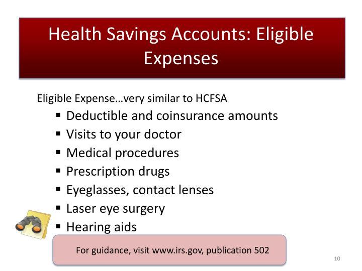 Health Savings Accounts: Eligible Expenses