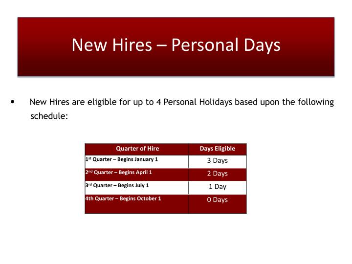 New Hires – Personal Days