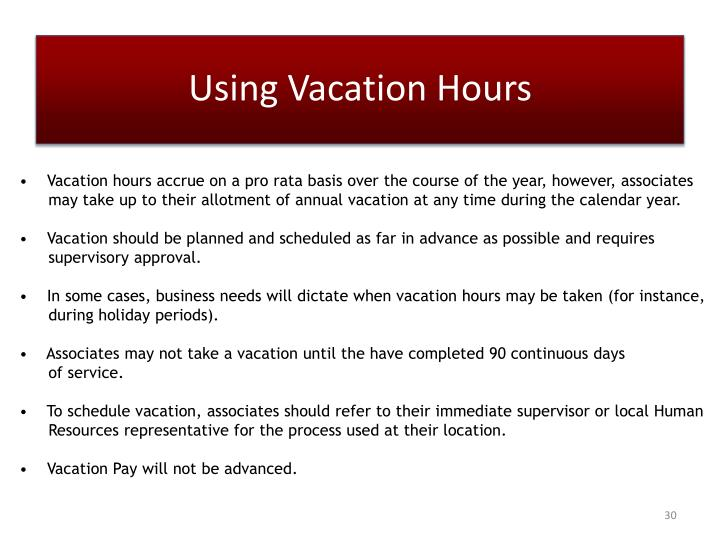 Using Vacation Hours