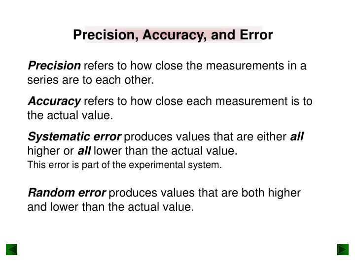 Precision, Accuracy, and Error