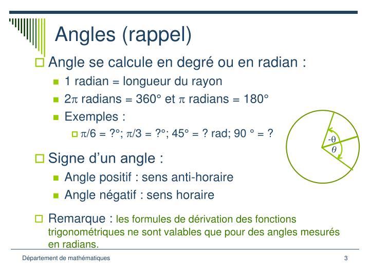 Angles rappel