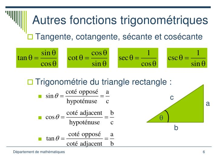 Autres fonctions trigonométriques