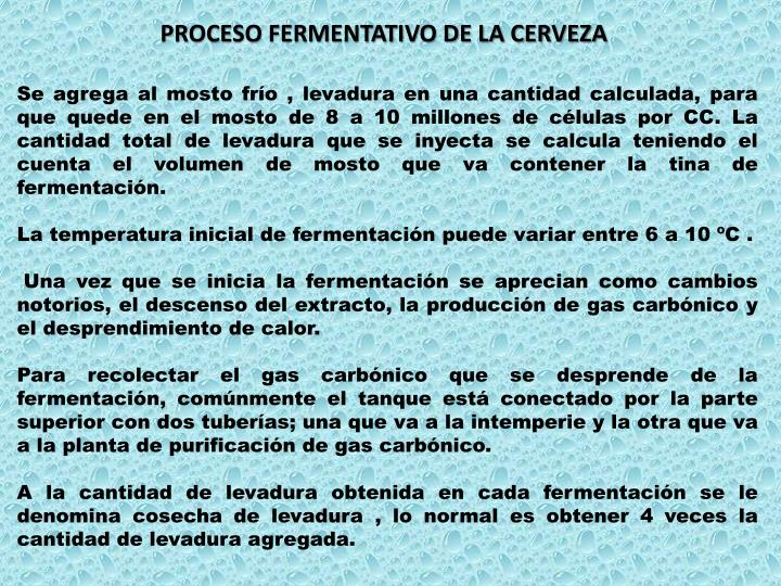 PROCESO FERMENTATIVO DE LA CERVEZA