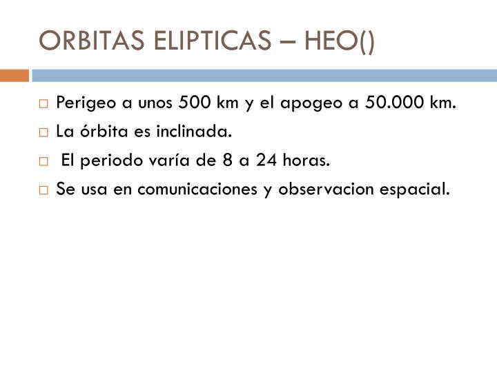 ORBITAS ELIPTICAS – HEO()