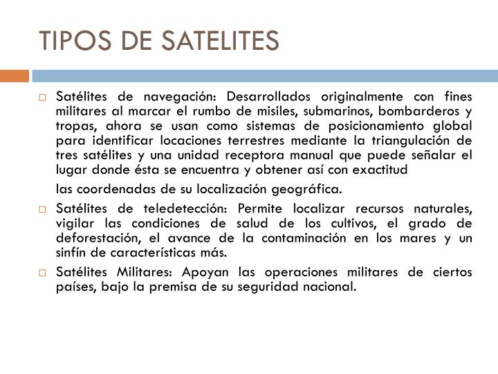 TIPOS DE SATELITES