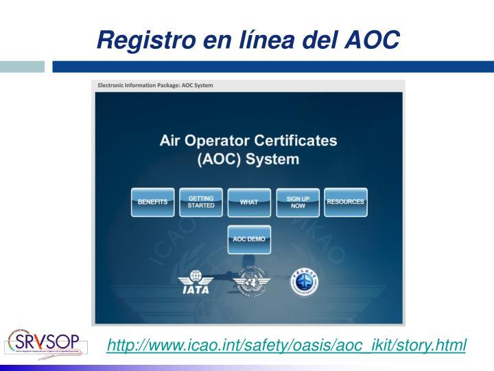 Registro en línea del AOC