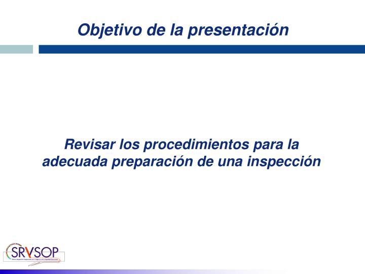 Objetivo de la presentación