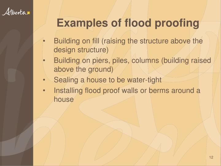 Examples of flood proofing