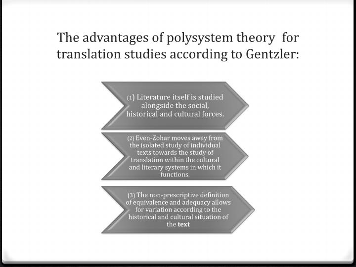the notion of polysystem theory Polysystem theory revised 4 or multilingual (a state that used to be common in most european communities up to recent times) the polysystem hypothesis, however, is designed precisely to deal.