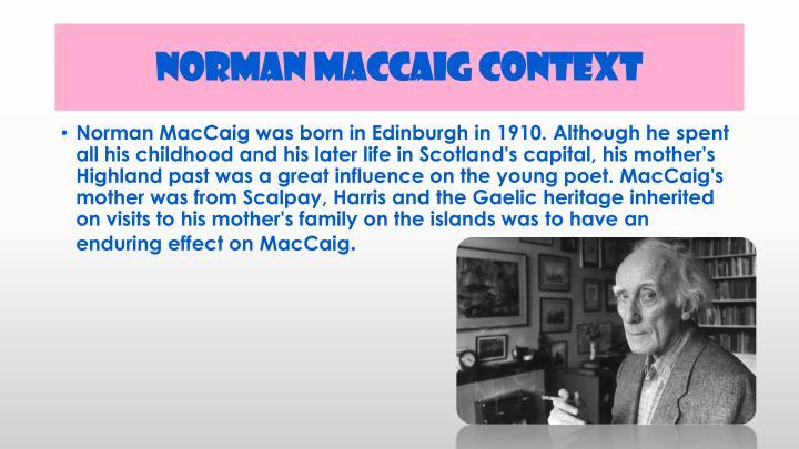 Norman maccaig context