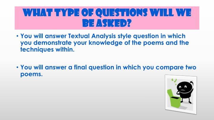 What type of questions will we be asked?