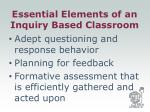 essential elements of an inquiry based classroom