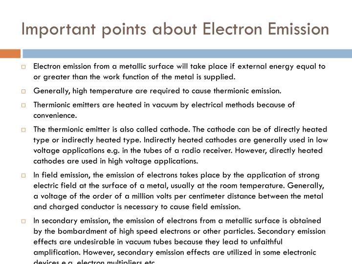 Important points about Electron Emission