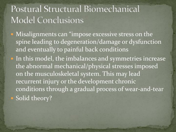 Postural Structural Biomechanical Model Conclusions