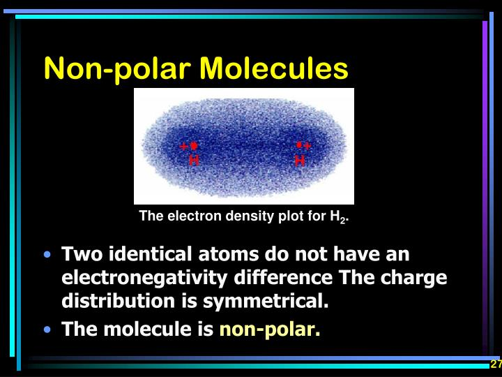 Two identical atoms do not have an electronegativity difference The charge distribution is symmetrical.