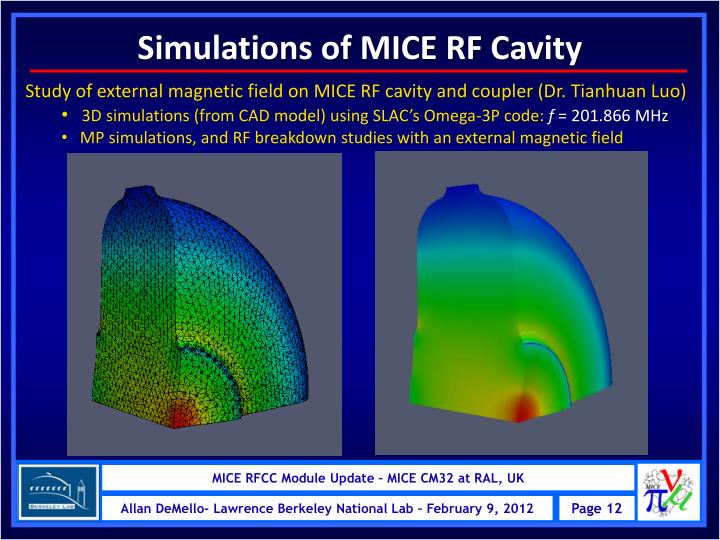 Simulations of MICE RF Cavity