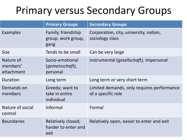 ppt - primary versus secondary groups powerpoint presentation - id