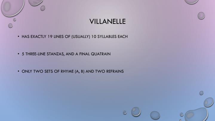 define villanelle