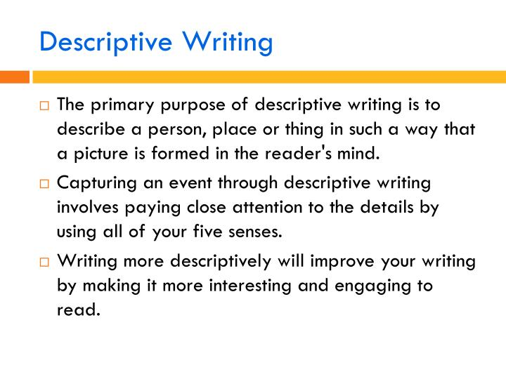 Descriptive essay writing ppt