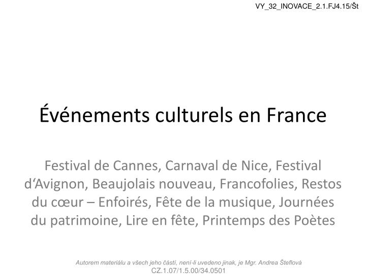 V nements culturels en france