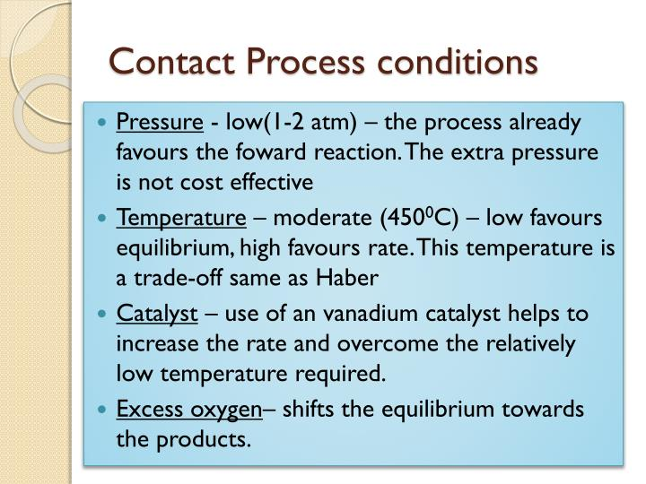 Contact Process conditions