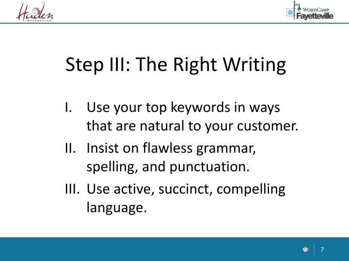 Step III: The Right Writing