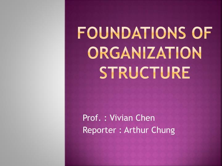 foundations of organization structure n.