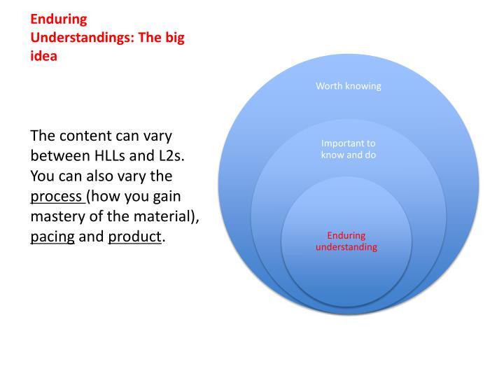 Enduring Understandings: The big idea