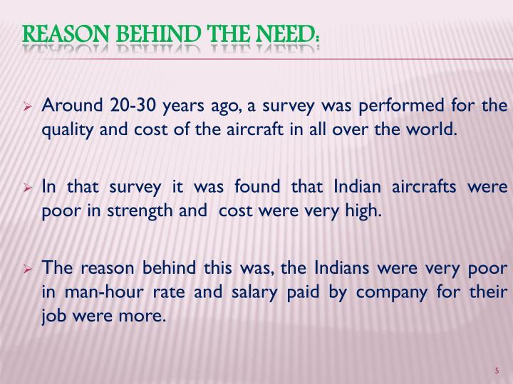 Reason behind the need: