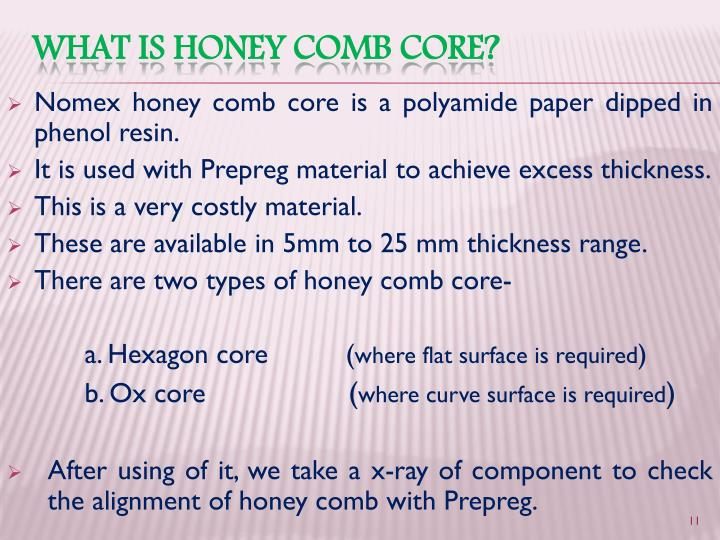 Nomex honey comb core is a polyamide paper dipped in phenol resin.