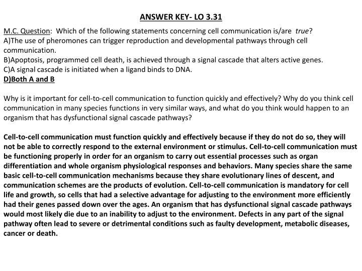ANSWER KEY- LO 3.31