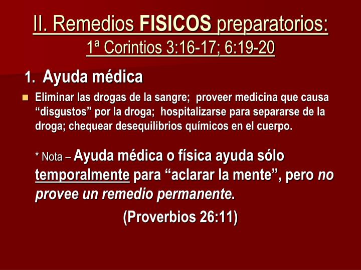 II. Remedios