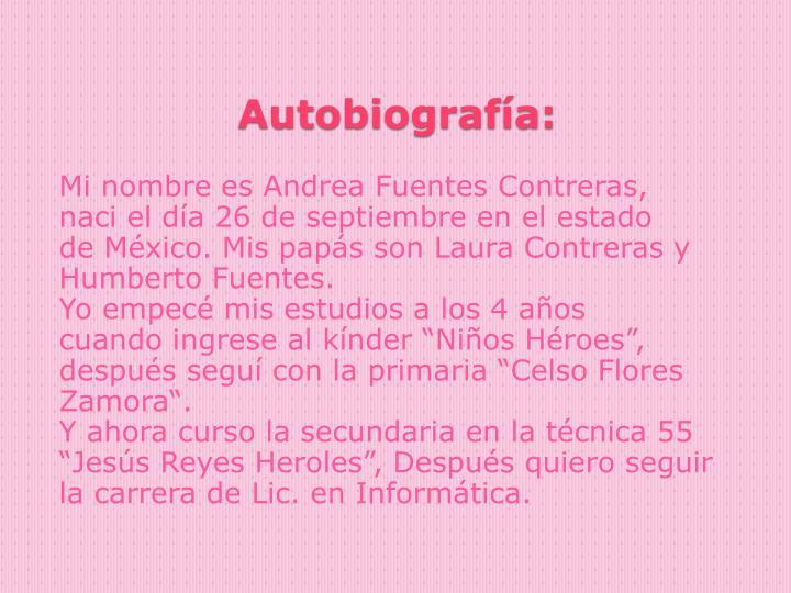 Mi nombre es Andrea Fuentes Contreras,