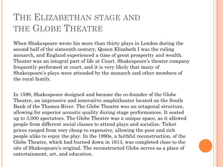 The Elizabethan stage and