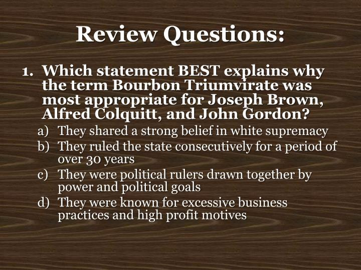 Review Questions: