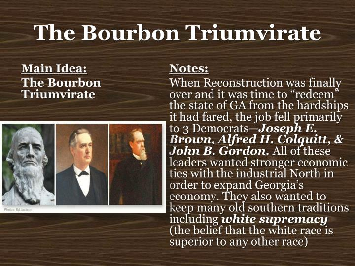 The bourbon triumvirate1
