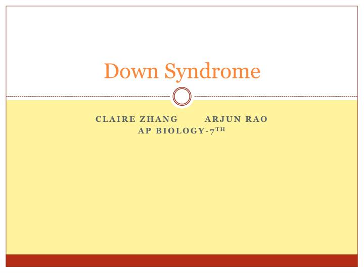 down syndrome n.