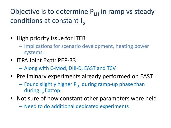 Objective is to determine p lh in ramp vs steady conditions at constant i p