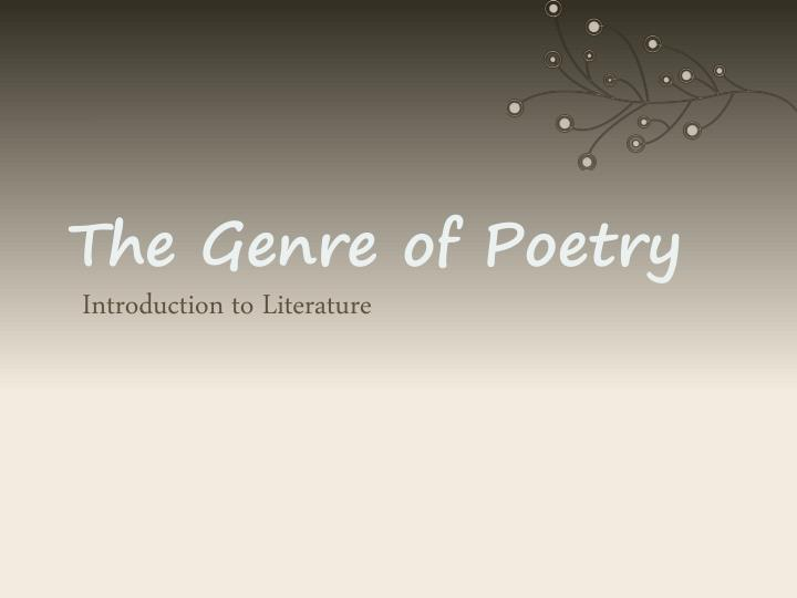 the genre of poetry