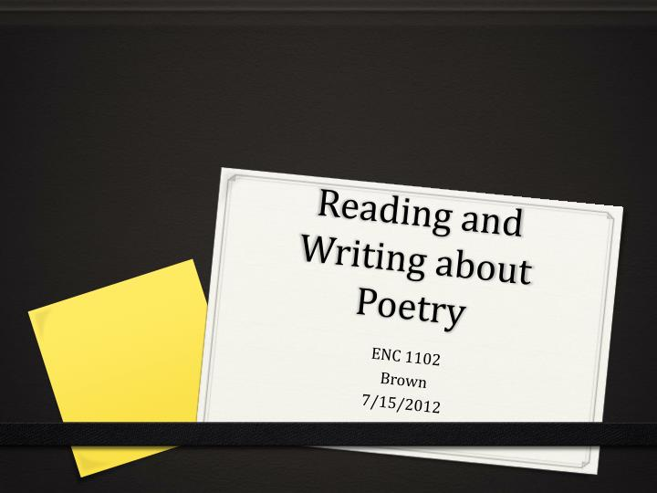 reading and writing about poetry n.