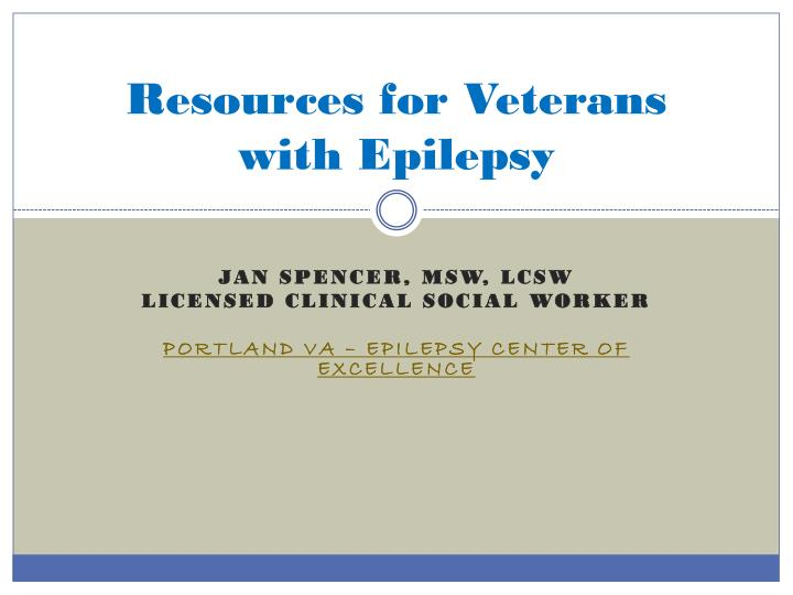 Resources for veterans with epilepsy